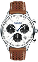 Movado Heritage Series Calendopan Stainless Steel and Perforated Leather Strap Chronograph Watch