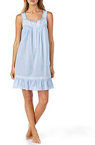 Eileen West Embroidered Ruffled Chambray Chemise