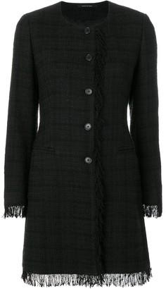 Tagliatore Plaid Fringed Coat