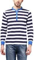 American Crew Striped Henley Full Sleeves T-Shirt - L (AC230-L)
