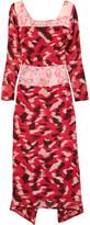 Michael Van Der Ham Rose organza-paneled fil coupé dress