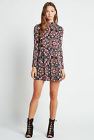 BCBGeneration Kaleidoscope Long-Sleeve A-Line Dress - Dark Algae Multi