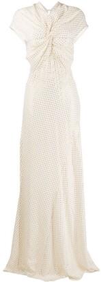 Victoria Beckham Twist-Front Polka Dot Gown