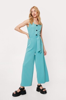 Nasty Gal Womens Jump to It Belted Wide-Leg Jumpsuit - Black - S, Black