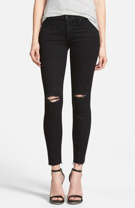 Mother 'The Looker' Frayed Ankle Skinny Jeans
