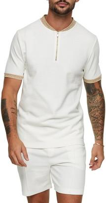 Topman Baseball Short Sleeve Half Zip Polo