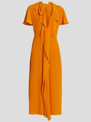 Victoria Beckham Short Sleeve Ruffle And Chain Trim Midi Dress