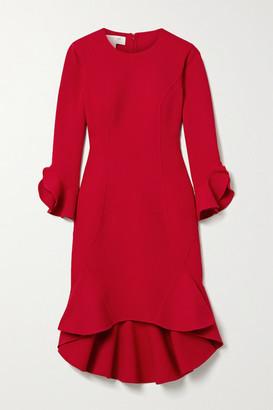 Michael Kors Ruffled Stretch Wool-blend Cady Dress - Crimson