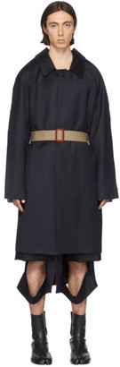 Maison Margiela Navy and Beige Twill Cavalry Coat