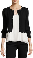 Milly Scalloped Cropped Cardigan
