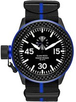 Glam Rock Men's Racetrack 46mm Multicolor Nylon Band IP Steel Case Swiss Quartz Black Dial Watch GRT29008F