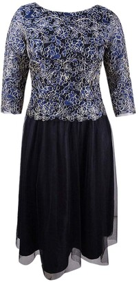 Alex Evenings Women's Plus-Size Embroidered Mock Dress with Tulle Skirt
