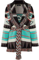 Alanui - Fringed Jacquard-knit Cashmere Cardigan - Blue
