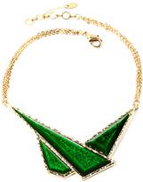Amrita Singh Goldtone & Evergreen Geo Bib Necklace