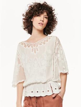 M&Co Crochet lace mesh top