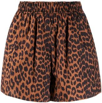 Ganni Leopard Print High-Waisted Shorts