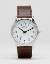 Limit Leather Watch In Brown Exclusive To ASOS