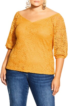 City Chic Elbow Sleeve Lace Top