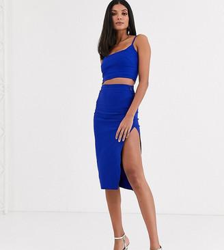 Vesper Tall co-ord midi skirt in cobalt blue