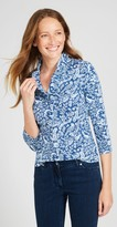 J.Mclaughlin Durham Ruffle Top in Woodblock Garden