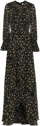 Mikael Aghal Ruffled Floral-print Georgette Maxi Dress