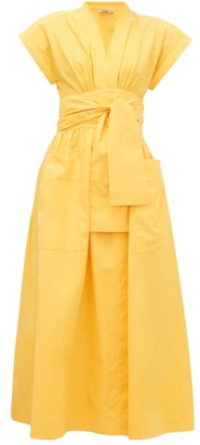 Three Graces London Clarissa V-neck Cotton Wrap Dress - Yellow