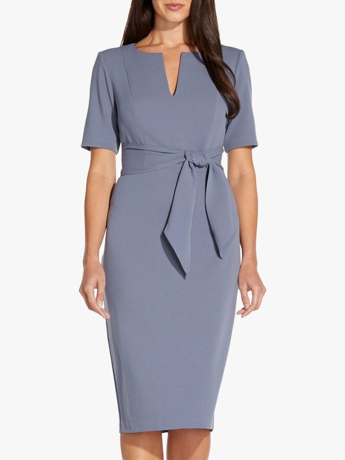 Adrianna Papell Knit Sheath Knee Length Dress, Dusty Blue