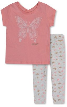 DKNY Toddler Girl Short Sleeve Butterfly T-shirt & Leggings, 2pc Outfit Set