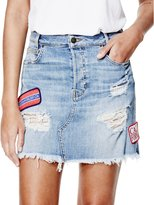 GUESS 90s Patched Denim Miniskirt in Grunge Destroy Wash