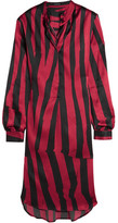 Ann Demeulemeester Striped Stretch-silk Satin Tunic - Claret