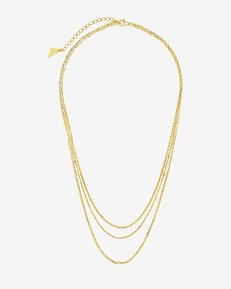 Express Sterling Forever Dainty Layered Chain Necklace