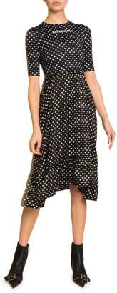 Balenciaga Polka-Dot Logo Graphic Midi Dress