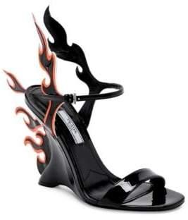 Prada Leather Flame Wedge Sandals
