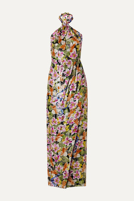 Borgo de Nor Alyona Floral-print Metallic Silk-blend Halterneck Maxi Dress