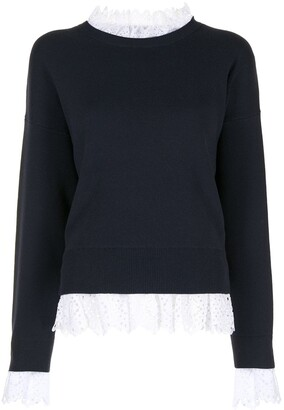 Enfold Embroidered Lace-Trim Jumper