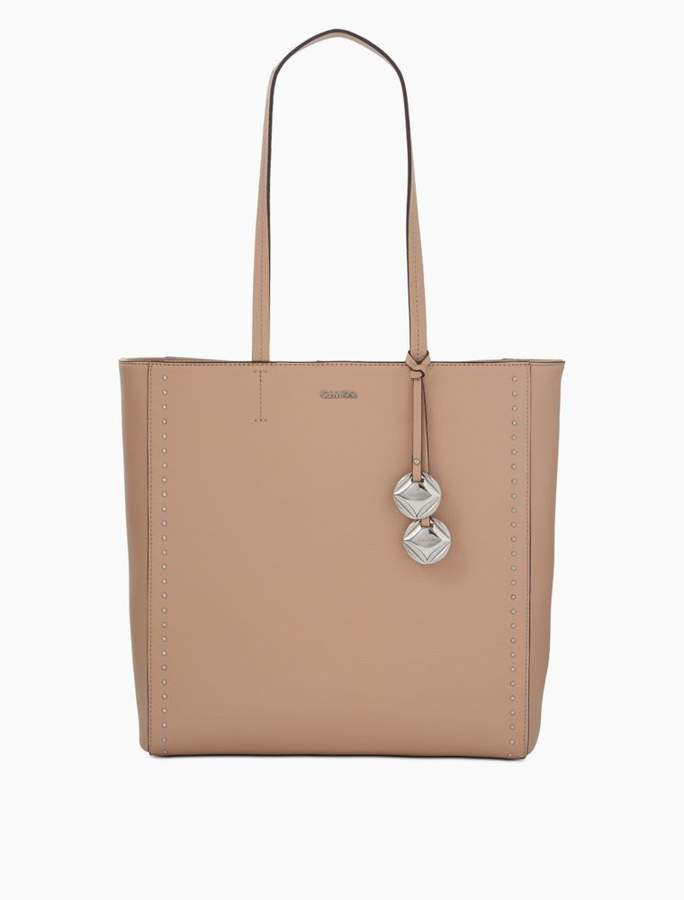 Calvin Klein pebble leather studded tote bag