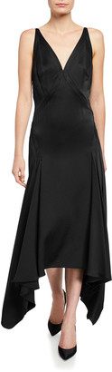 Zac Posen Satin Low-Back Bias-Cut Dress