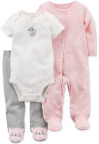 Carter's 3-Pc. Cotton Cat Bodysuit, Footed Coverall and Footed Pants Set, Baby Girls (0-24 months)