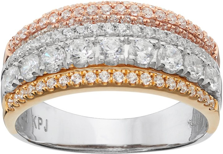 Vera Wang Simply Vera Tri Tone 14k Gold 1 Carat T.W. Diamond Multi Row Anniversary Ring