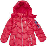 U.S. Polo Assn. Bright Rose Hooded Blouson Puffer Jacket - Toddler & Girls
