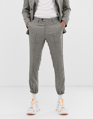Asos Design DESIGN skinny crop jogger suit pants in stone with green and blue houndstooth