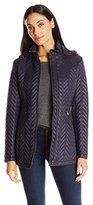 Larry Levine Women's Short Quilted Jacket with Hood