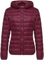 Wantdo Women's Hooded Packable Ultra Light Weight Down Coat Short Outwear(,US)
