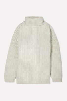 Maison Margiela Oversized Ribbed Wool-blend Turtleneck Sweater - Beige