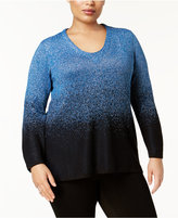 NY Collection Plus Size Metallic Ombré Sweater
