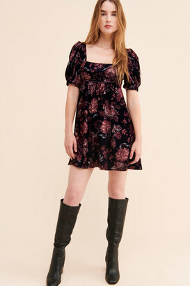 Urban Outfitters Penelope Velvet Babydoll Mini Dress