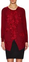 Oscar de la Renta Silk Lace Trimmed Cardigan
