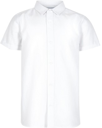 River Island Boys white short sleeve twill shirt