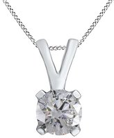 Jewel Zone US White Diamond Solitaire Pendant in 10K Solid Gold (1/4 cttw)