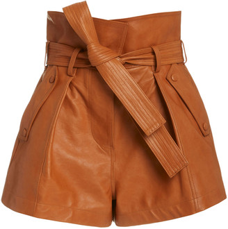 Ulla Johnson Othella High-Rise Leather Shorts